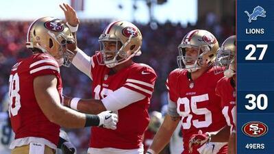 Los 49ers se salvan de una remontada y vencen a los Lions