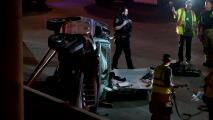 Se salva de morir tras volcar su vehículo cerca del centro de Houston