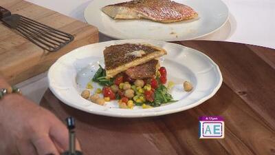 La receta: filete de chillo con espinaca y vegetales