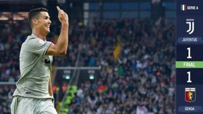 La Juventus empata ante el Genoa, con el quinto gol de Cristiano en la Serie A