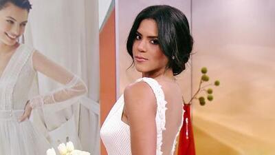Muy emocionada, Francisca Lachapel apareció vestida de novia modelando un diseño muy clásico