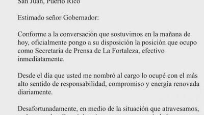 La secretaria de prensa de La Fortaleza anunció su renuncia