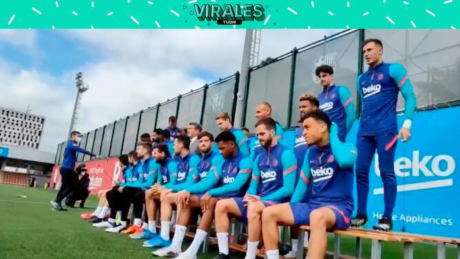 Las escenas detrás de toma de fotografía oficial del Barcelona