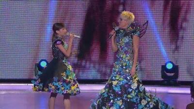 Bridget cantó 'La maldita primavera' junto con Yuri en Pequeños Gigantes 2