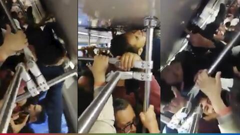 (Video) Se subió al techo del metro para no llegar tarde al trabajo