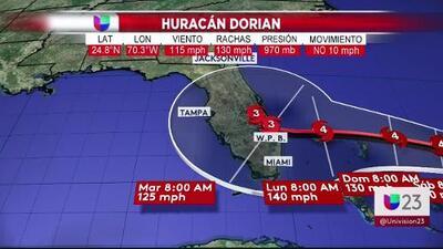 Esta sería la trayectoria del huracán Dorian según el último pronóstico del Centro Nacional de Huracanes