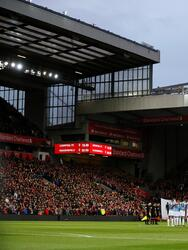 """Premier League - Liverpool v Huddersfield Town - Anfield, Liverpool, Britain - April 26, 2019 General view during a minutes silence before the match Action Images via Reuters/Jason Cairnduff EDITORIAL USE ONLY. No use with unauthorized audio, video, data, fixture lists, club/league logos or """"live"""" services. Online in-match use limited to 75 images, no video emulation. No use in betting, games or single club/league/player publications. Please contact your account representative for further details."""