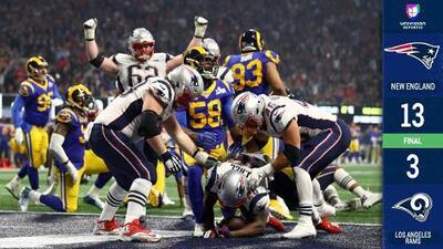 ¡Patriots, campeones! New England ganó el sexto ante Rams en el Super Bowl con menos puntos