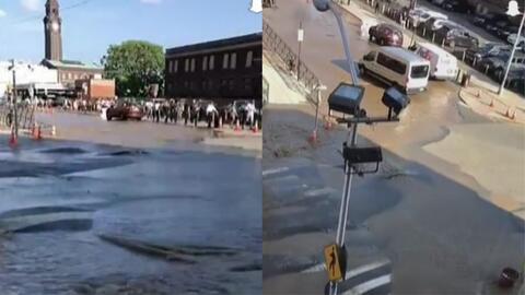 Por tercera vez en 24 horas, se rompe tubería de agua en Hoboken afectando a residentes y viajeros