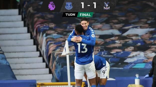 Everton, con gol de James Rodríguez, igualó con Crystal Palace