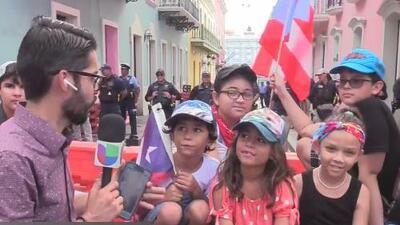 Niñez boricua presente en celebración en las calles por renuncia de Rosselló