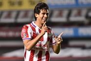 Jose Juan Macias celebrates his goal 1-1 of Guadalajara during the game Queretaro vs Guadalajara, corresponding to the ninth round match of the Torneo Guard1anes Clausura 2021 of the Liga BBVA MX, at La Corregidora Stadium, on March 03, 2021.  <br> <br> Jose Juan Macias celebra su gol 1-1 de Guadalajara durante el partido Queretaro vs Guadalajara, correspondiente a la Jornada 09 del Torneo Clausura Guard1anes 2021 de la Liga BBVA MX, en el Estadio La Corregidora, el 03 de Marzo de 2021.