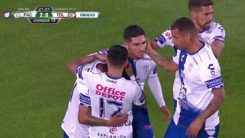 Pablito López cruzó su remate y marcó el 2-0 para los Tuzos