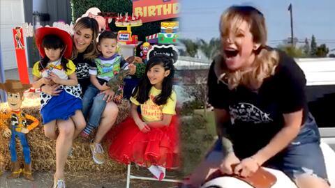 Jacqie Rivera celebró el cumpleaños de su hijo, pero ella fue la que más se divirtió en el toro mecánico