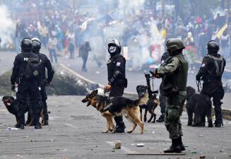En fotos: Ecuador decreta toque de queda y traslada la sede del gobierno mientras las protestas continúan