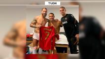 Reencuentro feliz entre Sergio Ramos y Cristiano Ronaldo en Lisboa