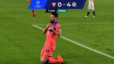 ¡Póker de Giroud! Chelsea atropelló al Sevilla y es líder de grupo