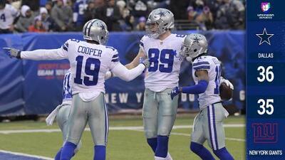 Cowboys vence a Giants con recepción milagrosa y accede a Playoffs con 10 victorias