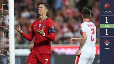 ¡Puras malas noticias! Portugal empata en casa ante Serbia y pierde a CR7 por lesión
