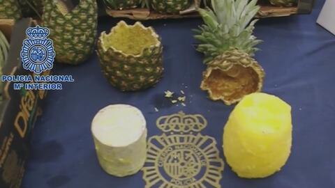 Piñas rellenas de cocaína: el escondite usado por narcotraficantes detenidos en España