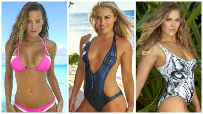 Hanna Davis, Lindsey Vonn y Ronda Rousey posan en traje de baño para Sport Illustrated