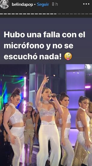 Belinda se refirió en sus historias de Instagram a la falla que se presentó con el micrófono durante su presentación en los premios. La cantante era parte del homenaje que se le realizó a Selena Quintanilla en el show.