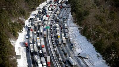 Caos en Georgia por helada tormenta invernal