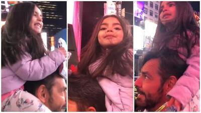En video: la tierna reacción de la hija de Eugenio Derbez al visitar por primera vez Times Square
