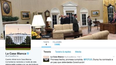 La cuenta de Twitter en español de la Casa Blanca de Trump cae en el abandono tras una semana de vida