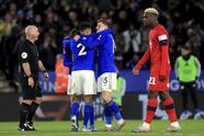 Leicester City's Harvey Barnes, second right, celebrates scoring his side's second goal of the game with his teammates during their English FA Cup third round soccer match against Wigan Athletic at The King Power Stadium, Leicester, England, Saturday, Jan. 4 2020. (Mike Egerton/PA via AP)