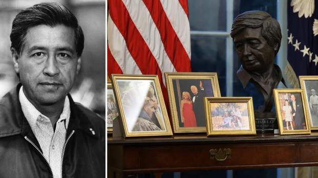 Un busto del líder hispano César Chávez está en la oficina oval de Joe Biden