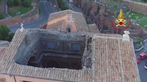 Así colapsó el techo de la Iglesia donde se cree que Pedro y Pablo estuvieron encarcelados