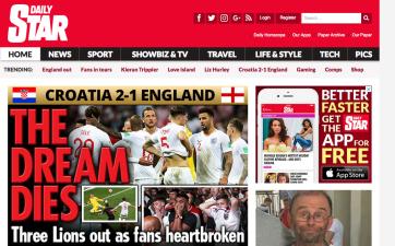 Así reaccionaron los medios ingleses tras el triunfo de Croacia contra su selección