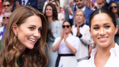 Muy sonrientes y platicadoras, así estuvieron Kate Middleton y Meghan Markle en el palco real de Wimbledon