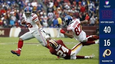 Saquon Barkley y los Giants aplastaron a Washington que acabó sentando a Mark Sánchez