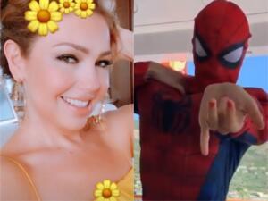 Thalía se convierte en Spiderman en Italia