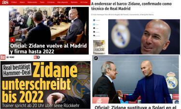 La reacción de los medios del mundo al regreso de Zidane a Real Madrid