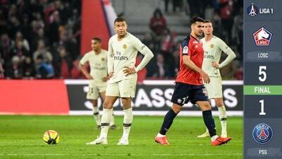 El título tendrá que esperar: Lille goleó al PSG y el campeonato de los parisinos se aplazó