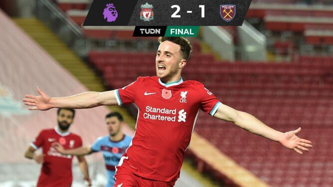 Con gol de Jota, Liverpool le remonta al West Ham