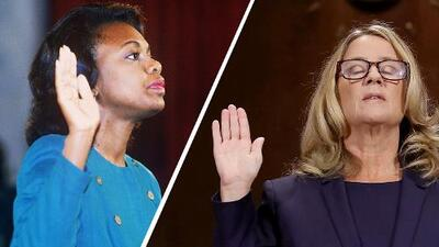 Fotografías interactivas: las similitudes y diferencias entre el interrogatorio a Anita Hill (1991) y a Christine Blasey Ford (2018)