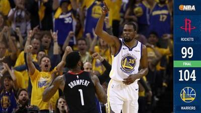 Victoria muy cara para los Warriors ante los Rockets: Kevin Durant sale lesionado