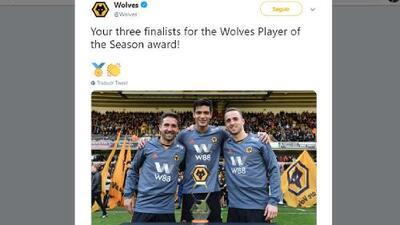 Raúl Jiménez, contra Moutinho y Jota para Jugador del Año del Wolverhampton