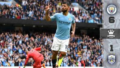 Juego 'set' y partido para el City: los de 'Pep' Guardiola golearon 6-1 al Huddersfield Town