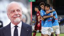 Presidente del Napoli aplaude el triunfo y el gol del Chucky