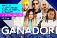 Anuel, Daddy Yankee, Ozuna, Karol G y J Balvin formaron 'La Mezcla Perfecta' y se llevaron un Premio Juventud.
