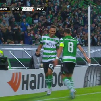 Cabezazo de Luiz Phellype y el Sporting se adelanta en el marcador