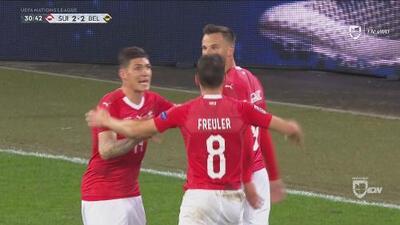 ¡Qué gran triangulación y Suiza ya le empata a Bélgica!