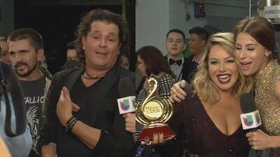¡Momentazos! Se les vio detrás de cámaras a Chiquis Rivera y Carlos Vives muy emocionados