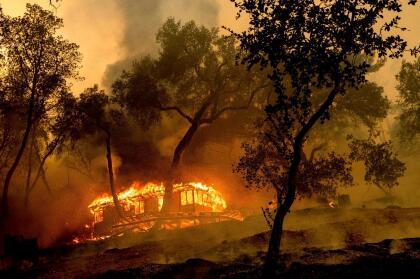 En lo que pareciera una repeteción de los últimos años, los fuegos ya alcanzaron la región de viñedos del condado de Napa. En la imagen, una cabaña envuelta en llamas en Nichelini Family Winery.
