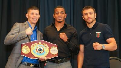 Román 'Rocky' Martínez y  Vasyl Lomachenko presentaron su pelea del 11 de junio en Nueva York